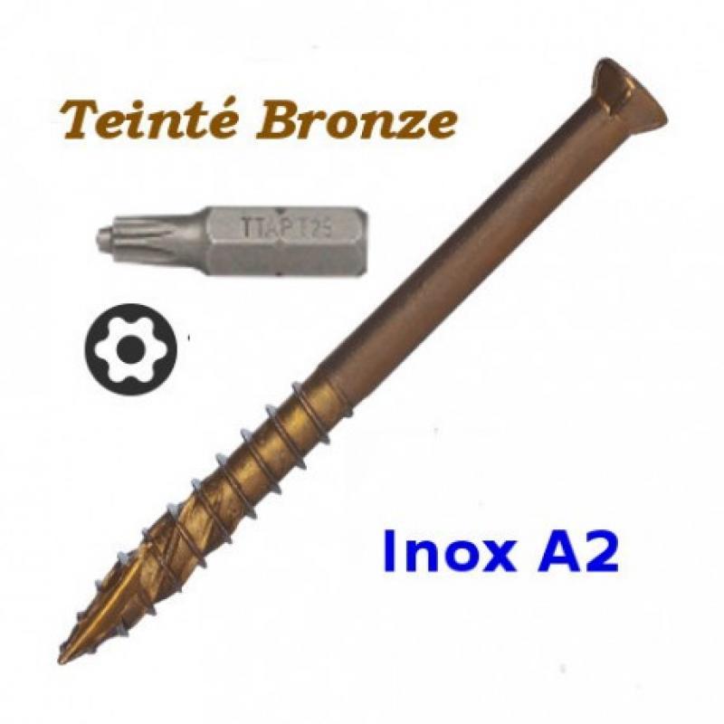 Visserie pour lames de terrasse en Bois Inox clair ou Bronze